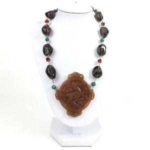 Carved Carnelian Smokey Quartz Silver Necklace